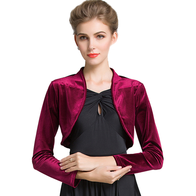 76932a9fa3 Burgundy Red Ladies Cropped Velvet Long Sleeve Shrug Womens Bolero Jacket  Cardigan Outwear Top Plus Sizes available