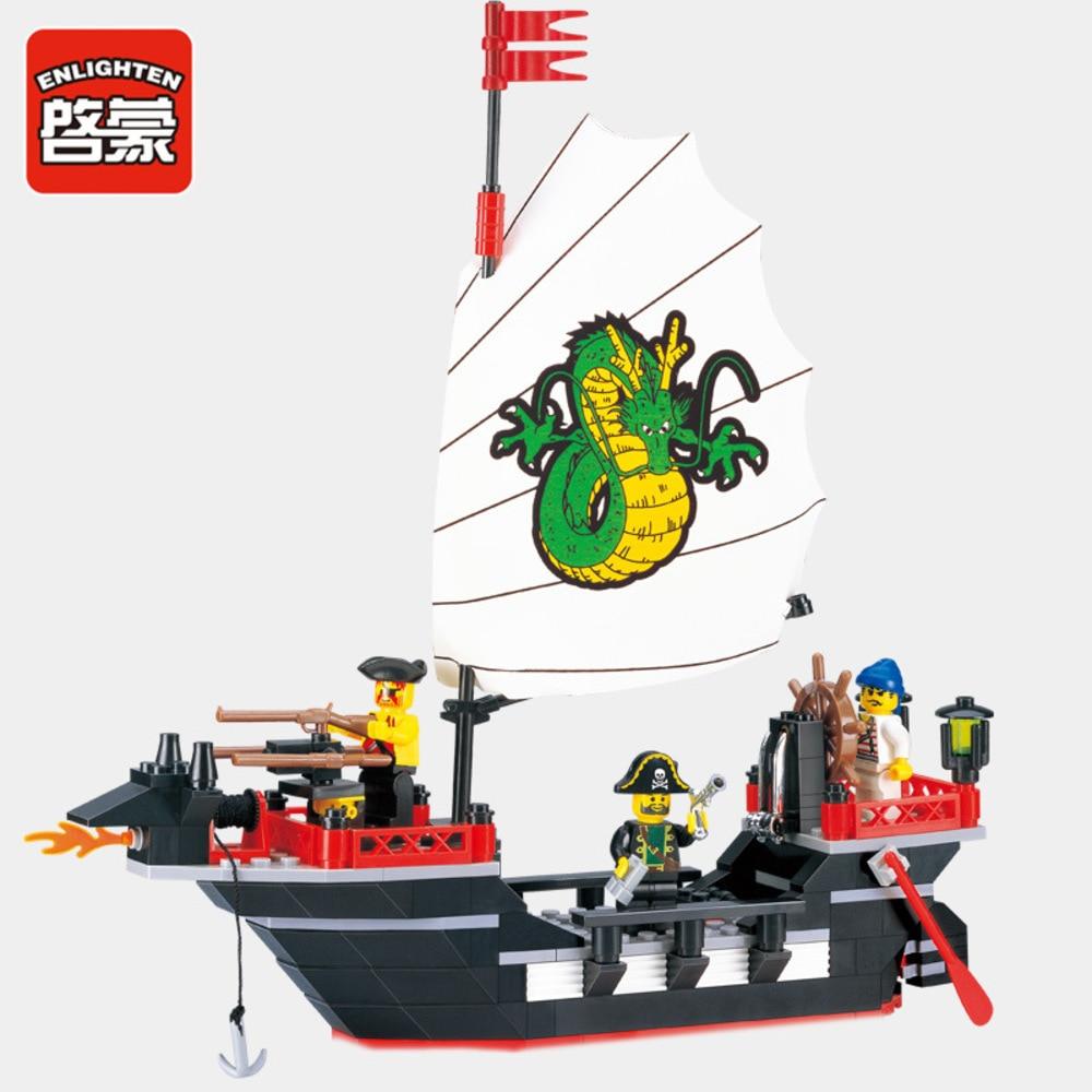 ENLIGHTEN 211pcs Pirates Ship Dragon Boat Model Building Blocks Sets Educational DIY Blocks Bricks Playmobil Toys For Children