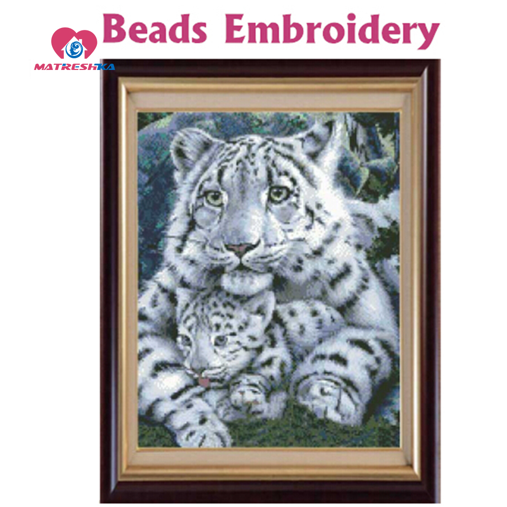 37cm 46cm Beads embroidery Accurate printed White Tiger Motherhood Full beadwork crochet acessorios de costura manualidades