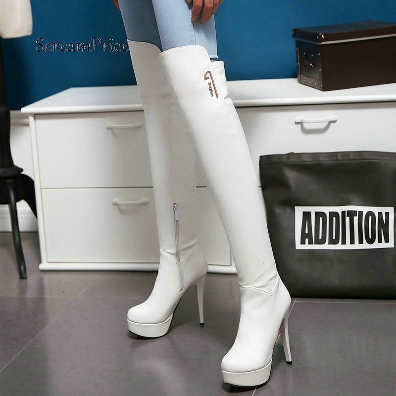 Women Sexy Thin High Heel Platform Over The Knee Boots Fashion Side Zipper Winter Thigh Boots Black White women platform chunky high heel over the knee boots side zipper winter warm thigh boots fashion woman shoes white black