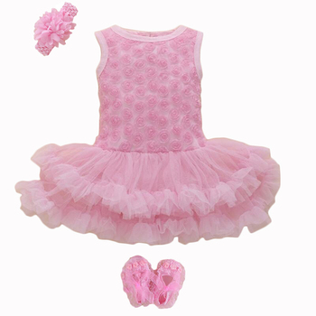 Party & Birthday Dress For 1-2 years Baby Girl Shoes+Gown 3