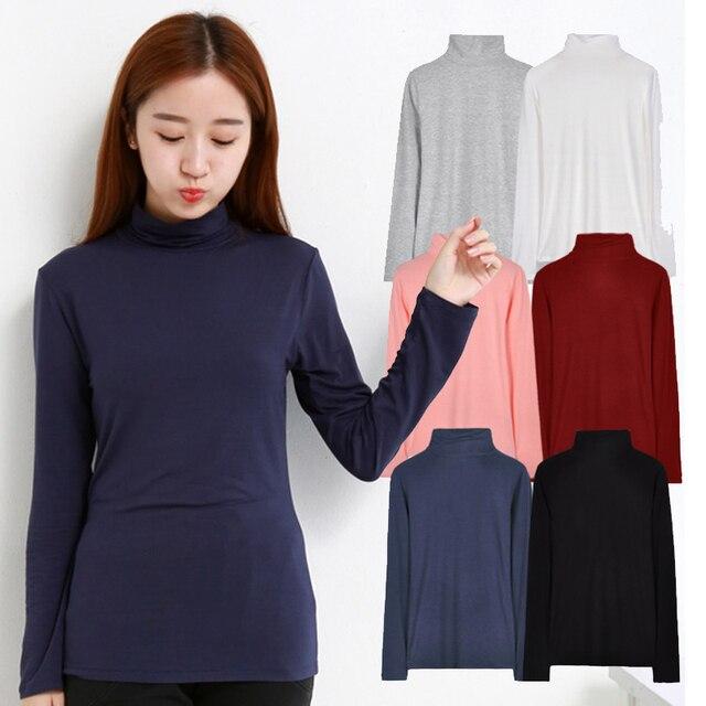 3e134bf983 Nouveau printemps t shirt femmes à manches longues hauts mode coton col  roulé t-shirt
