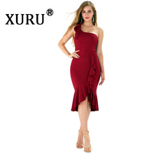 XURU new one-shoulder ruffled dress fashion sexy irregular dress black white wine red dress цена 2017