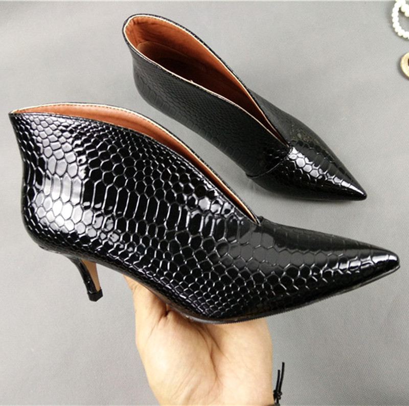 Sexy Pointed Toe V Mouth Stilettos Single Shoes Small Big Size Thin High Heel Shoes Women Snake Patent Leather Pumps Women Shoes