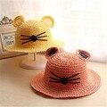 2016Hot летнее солнце шляпу 3-6 лет ребенок кошачьи уши мультфильм девушки шляпы ручной соломенной шляпе мягкая шляпа вводная часть femme ete