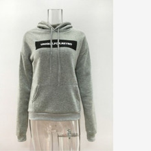 New Autumn Europe and US sport sweater fashion loose midi pattern long sleeves with hooded