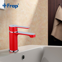 FRAP Basin Faucets Red color chrome faucet bathroom tap faucet deck mounted Basin Mixer Cold and Hot Water Taps bathroom mixer
