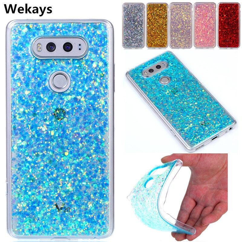 Caso Para LG X Estilo K200DS Wekays Moda Bling Glitter Casos Fundas Para Coque LG X5 X Max X 5 de Volta Caso Capa Para O LG V20 20 V