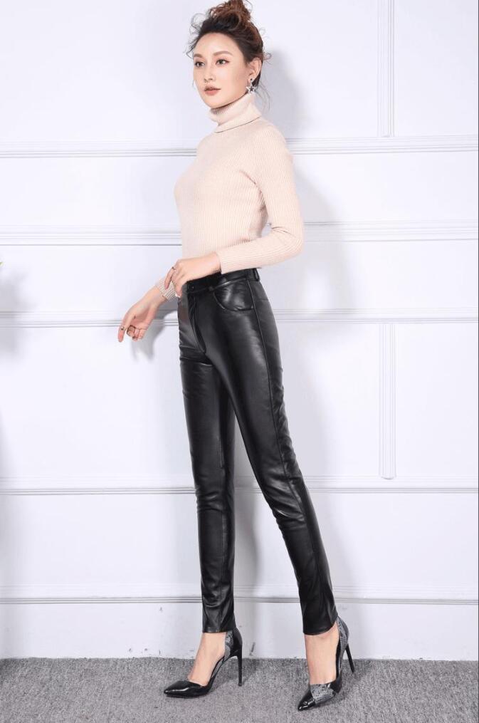 No S Véritable Pockets 4xl Grande Pockets Crayon Pantalon black Mince Peau Femmes Haute Bottes Back Cuir Leggings Mouton De En Black Dame Taille Pantalon xxpqrHnw