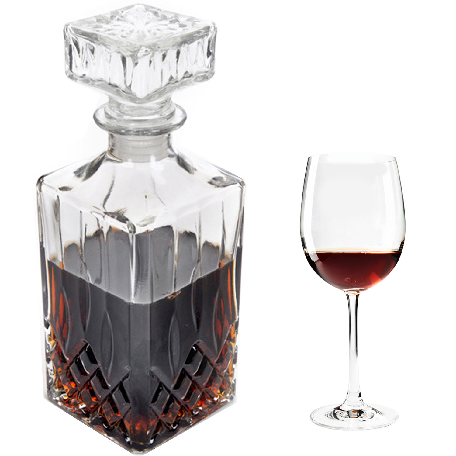 behokic 1000ml european style square glass diy wine beer whisky decanter drink water juice tea milk - Whisky Decanter
