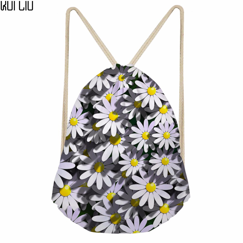 Customized Women Drawstring Bags Garten Flower Pattern Sack Pack For Female Travel Small Bagpack Daily Use Packs 2018