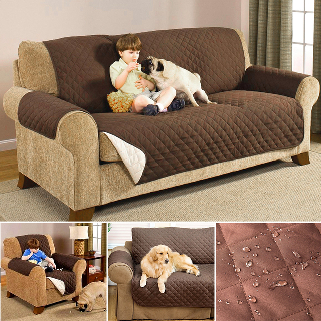 Us 15 62 30 Off Universal Waterproof Sofa Slipcovers Cotton For Living Room 1 2 3 Couch Furniture Covers Sectional Brief Brown Beige In