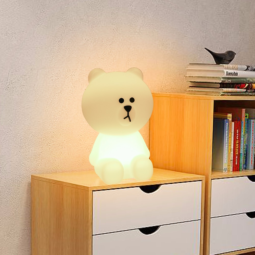 30CM Brown Bear LED Night Light Home Decoration Atmosphere Table Lamp Cute Animal Cartoon Children's Gift Light EU / US Plug