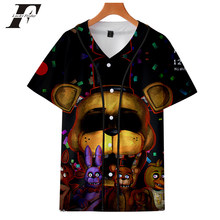 LUCKYFRIDAYF 2018 Five Nights at Freddy Pop Baseball T-shirt Women Fashion Autumn Skull Baseball Jersey Short Tshirt Clothes 4XL(China)
