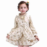 Children S Dresses Girl S Princess Dress Kid S Cotton Vest Long Sleeve 2 Pcs Clothing