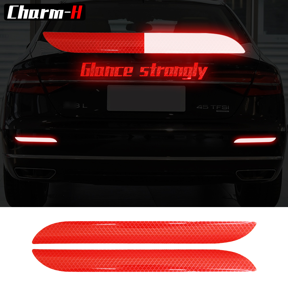 2pcs Car Trunk Tail Safety Warning Reflective Stickers Car Lighting Luminous Reflector Rear Decal sticker for BMW Ford Benz Audi