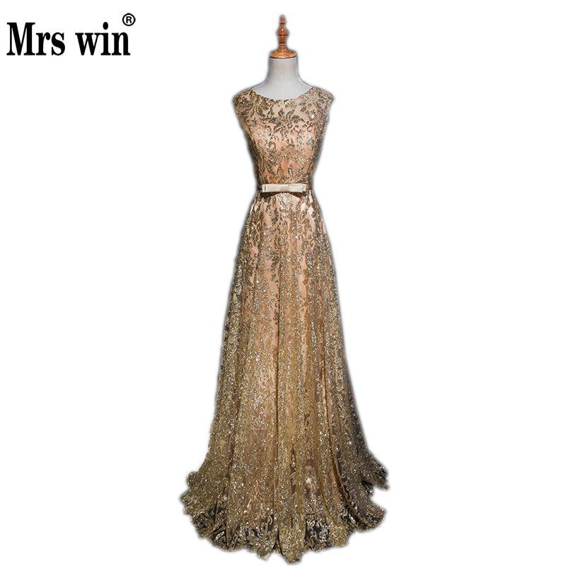 Mrs Win Noble Shining Evening Dress Elegant 0-neck Slim Charming Dinner Sexy Long Dress Party Host Prom Dress Vestido De Festa L
