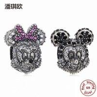 2017 Classic 925 Sterling Silver Cute Mickey & Minnie Charm Fit Original pandora Bead Bracelet Bangle Diy Fine Jewelry For Women