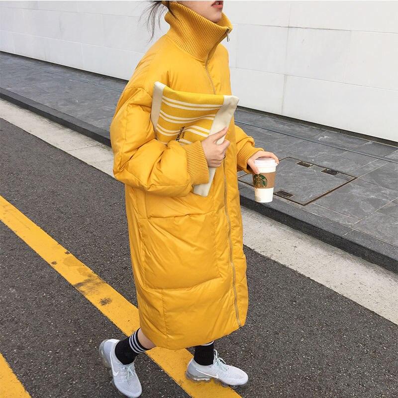 Осень и зима длинная пуховая хлопковая куртка Для женщин Свободные теплые толстые высокий воротник женский жакет в стиле кэжуал с хлопковой подкладкой Для женщин зимнее пальто Q1741|Парки| | АлиЭкспресс