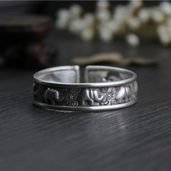 100% 925 Sterling Silver Handmade Braelet Bangles Gypsy Bohemian Vintage Retro Carved eleph Bracelets Women Classic фото