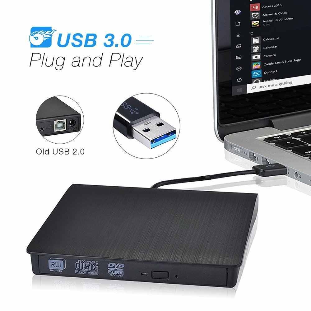 Внешний USB 3,0 высокоскоростной DL DVD RW ГОРЕЛКА CD писатель тонкий портативный оптический привод для Asus samsung Acer Dell ноутбук ПК hp