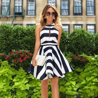 2016 Brand New Women Casual Loose Dress Sexy High Neck Off Shoulder Striped Hollow Out