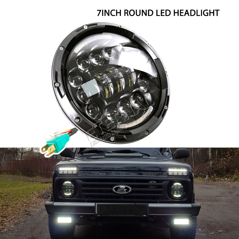 free shipping off road LED headlight 4x4 headlamp 7inch round H4 H13 Hi low DRL Light for offroad wrangler JK 09-16 lada niva free shipping new stye 2pc 7inch 70w round led off road lights 12v spot driving work wrangler headlight 4x4 truck led work light