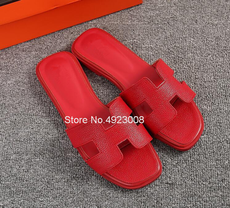 New Women Slippers Summer Flat Travel Shoes Fashion Beach Slipper Female Shoes Casual Hot Solid Genuine Leather Sandals Slippers 5