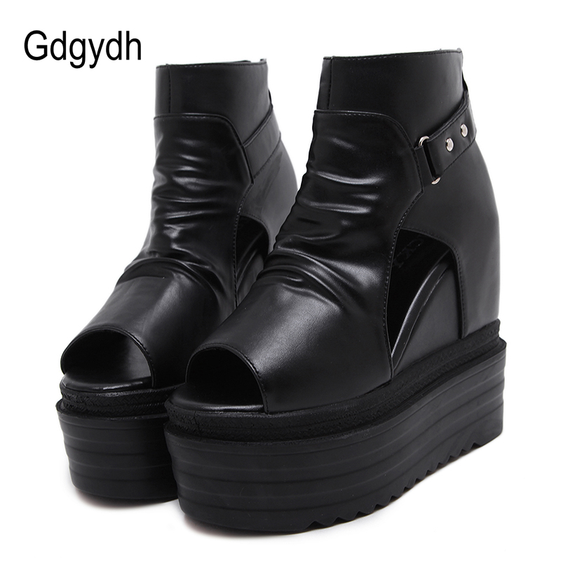 Gdgydh Fashion Rivet Ankle Boots For Women Open Toe Ladies Summer Shoes Platform Wedges Spring Black Leather Casual Shoes BootsGdgydh Fashion Rivet Ankle Boots For Women Open Toe Ladies Summer Shoes Platform Wedges Spring Black Leather Casual Shoes Boots