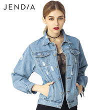 JENDIA Women Denim Jacket Coat Autumn Winter Long Sleeves Jackets Jeans Lapel Tops Basic Pocket Single Breasted Casual Outwear