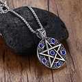 New fashion man necklace, stainless steel casting ancient color blue crystal Pentagram pendant with do not fade N16523