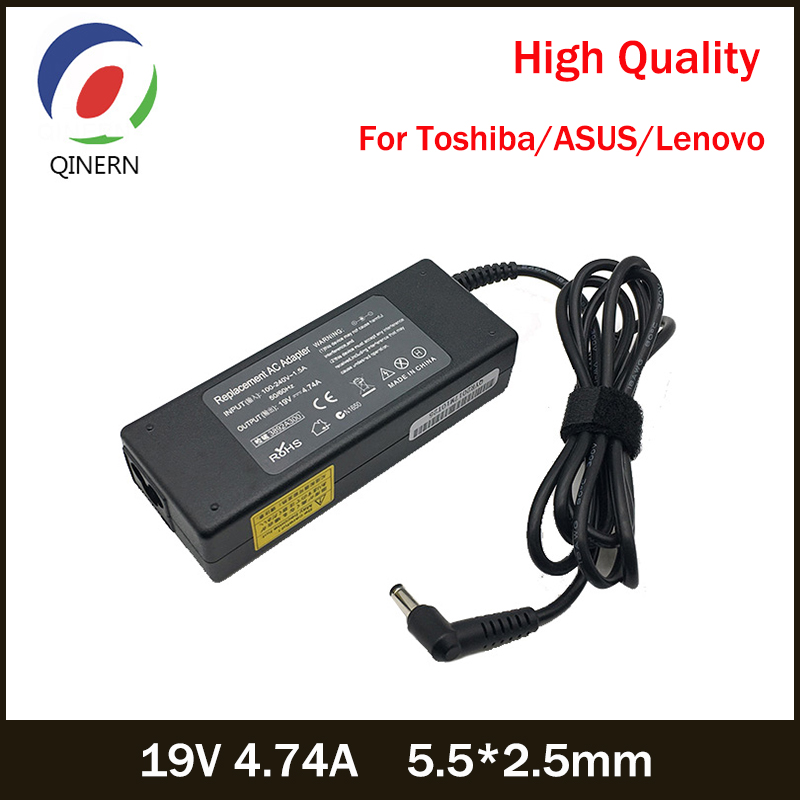 QINERN 19V 4.74A 90W 5.5*2.5mm AC Laptop Charger Portable Power Supply For Toshiba/ASUS Aspire M5-581G Laptop Adapter For Lenovo sale 20 pcs rca right angle connector plug adapters male to female 90 degree elbow