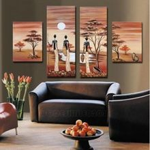 4PC Pure Hand-painted Oil Painting African landscape Wall Art (No Frame)