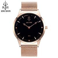KINGHOON Rose Gold Watch Mens Watches Top Brand Luxury Waterproof Quartz Watch Steel Wrist Watches For