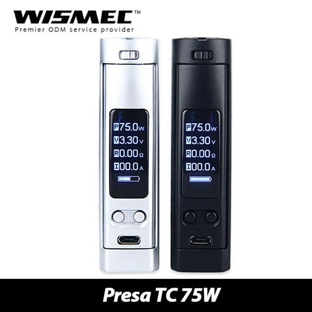 100% Оригинал 75 Вт WISMEC Преса TC MOD Поддержка VW Обход TC TC-Ni-Ti режима Питание От 1x18650 Батареи Электронных сигарет