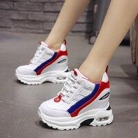 Для женщин Коренастый кроссовки 9 см Увеличение роста кроссовки на платформе отсутствие скольжения Повседневная обувь, увеличивающая рост ...