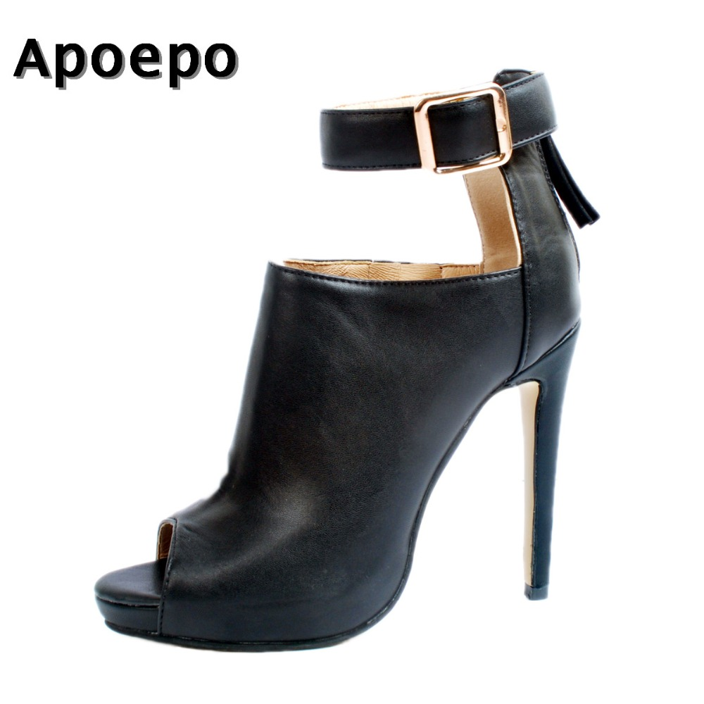 Здесь продается  Apoepo Hot Selling Black Leather Ankle Boots Sexy Peep Toe Ankle Strap Woman Boot 2018 Cutouts High Heel Boots Gladiator Boots   Обувь