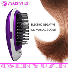 Hot Purple Electric Ionic Styling Hairbrush Magic Portable Hair Comb ABS + Soft Steel Magic Beauty Brush Comb Massage(China)