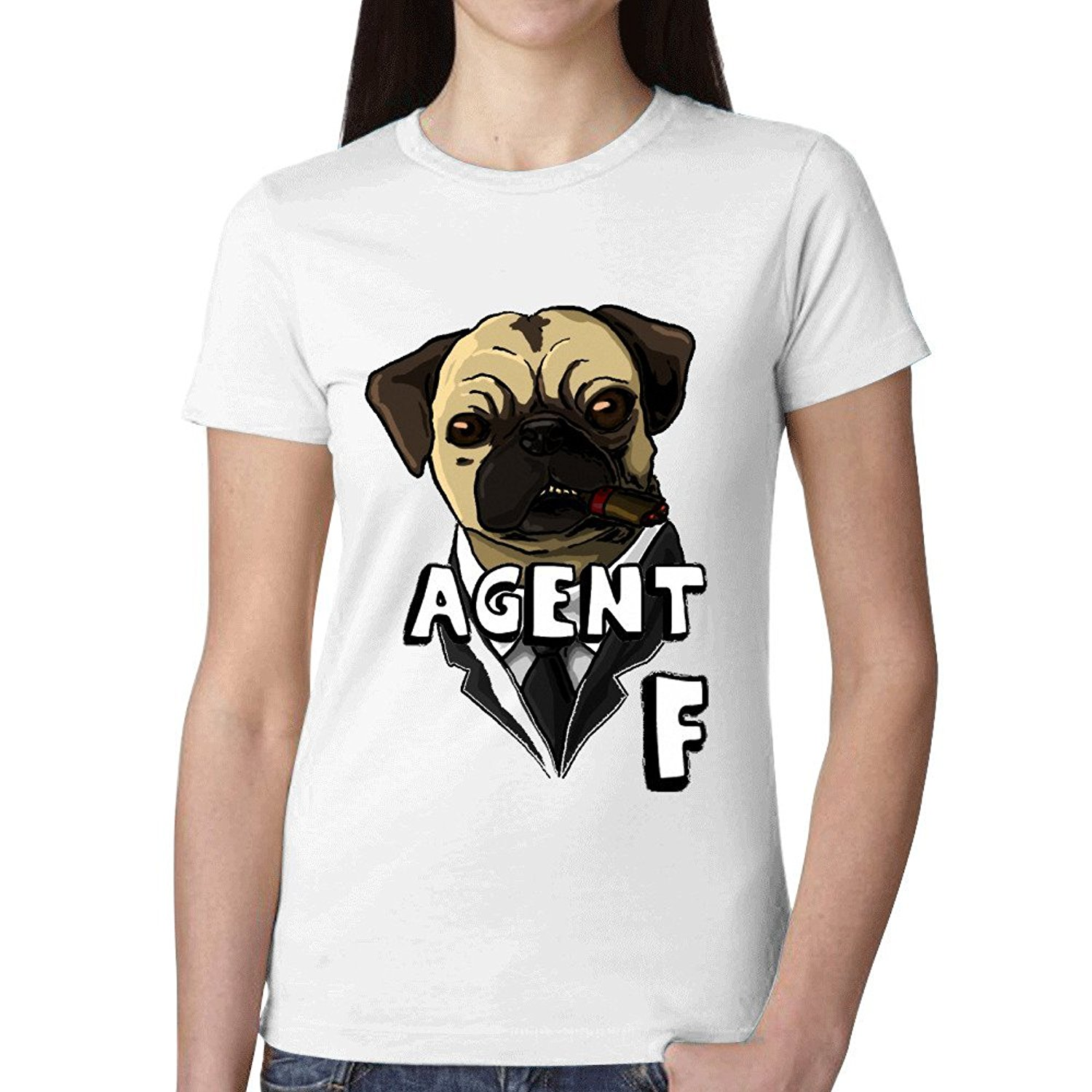 Design your own t-shirt for dogs - Premium Fitted Quality Tee Shirts Agent F Graphic T Shirts For Women Round Neck Summer Design