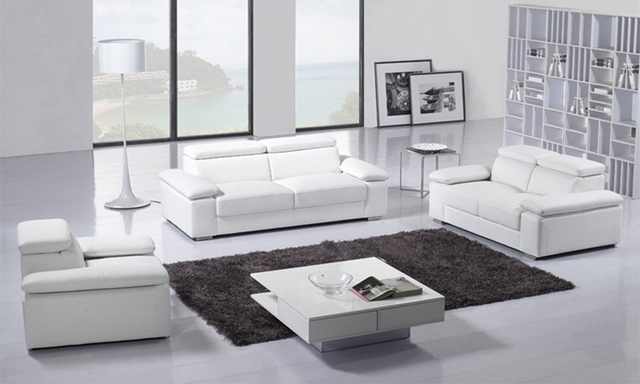 Free Shipping Clic 123 Italy Modern Desgin High Back Luxury Top Grain Leather Sofas Living Room