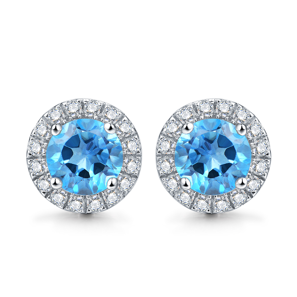 2.0ct Natural Swiss Blue Topaz Sterling Sliver Zirconia Round-Cut Stud Earrings