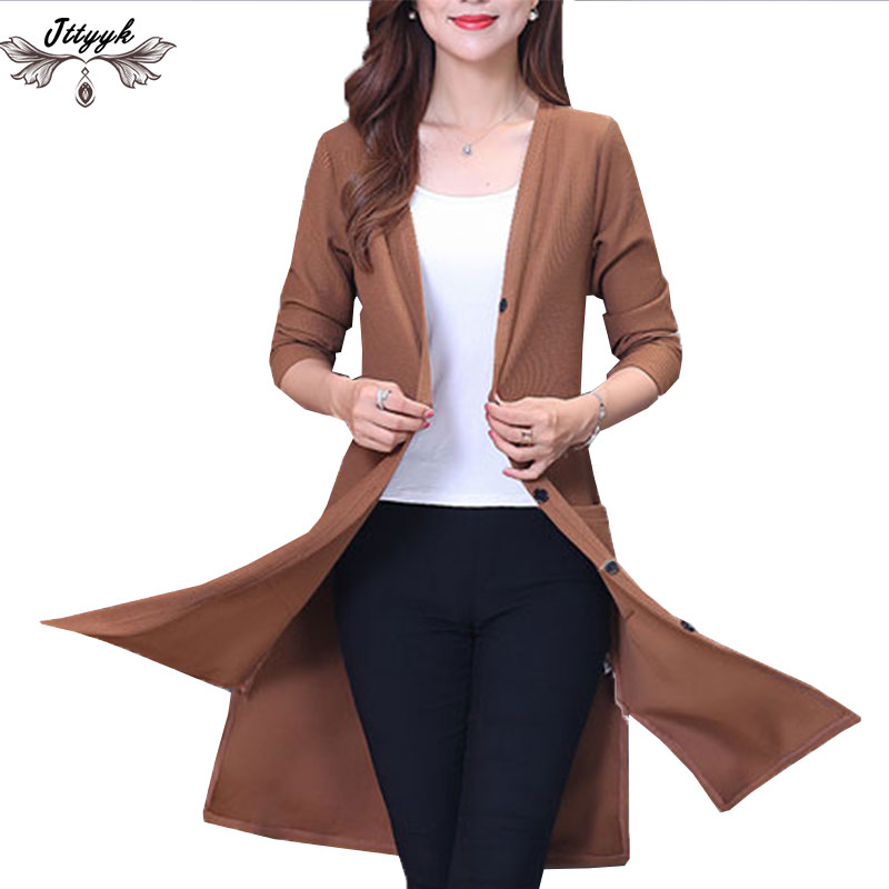 2018 New Spring Autumn Knitted Sweater Cardigan Women Winter Jacket Loose Plus Size 5XL Big yards joker Long Sweaters Coat Woman ...
