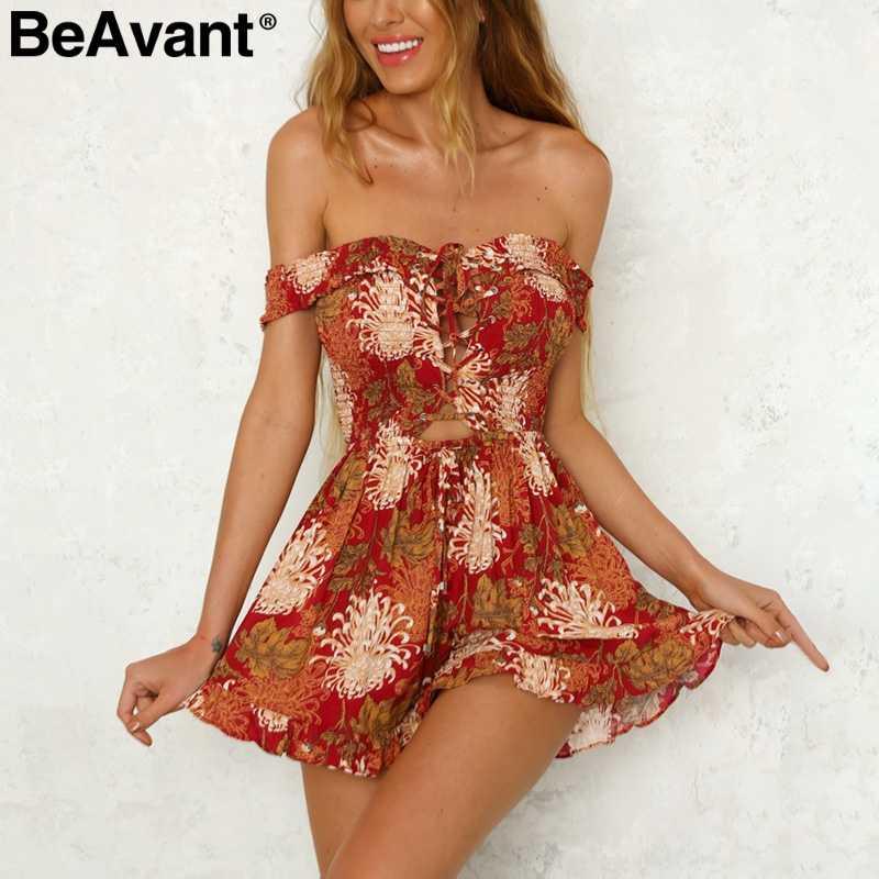 75e7468e2c2 BeAvant Off shoulder sexy jumpsuit romper women Lace up floral print  jumsuit Summer boho clothing strap