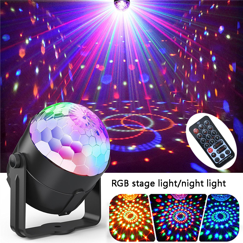 Colors Disco Light RGB Stage Lighting Projector Rotating Ball Lamp Distant Control EU Plug For Party KTV Stage LightsColors Disco Light RGB Stage Lighting Projector Rotating Ball Lamp Distant Control EU Plug For Party KTV Stage Lights