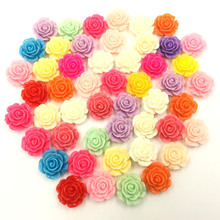 50Pcs Mixed Colors Flower Resin Fleur Dome Seals Cameos Embellishments Scrapbook Crafts Findings 15x7mm