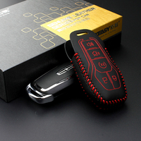 Key Case Key Chain For Ford Mustang 2015 2016 Lincoln Mondeo 2013 Genuine Leather Car Key
