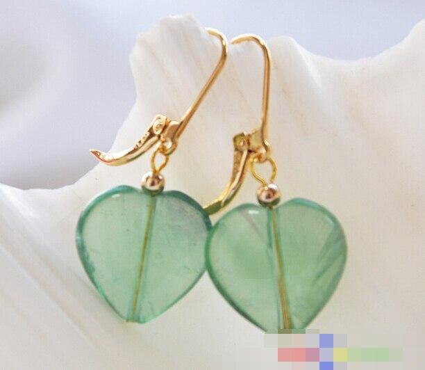 FREE SHIPPING>>> free shipping 12156 heart green fluorbaryt dangle earring