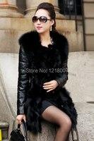 зима rosh обвинение женщины в мех пальто кожа верхняя одежда длинный рукав куртка черный, размер М-XXXL