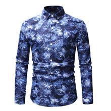 Long sleeve Flower Men's Shirt Casual Fashion Floral Hawaiian Shirt Dress Blouse Men Blue Gray цена 2017