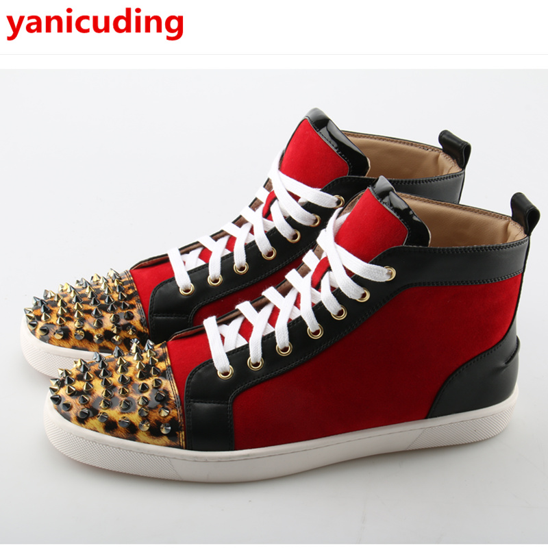 High Top Front Lace Up Men Casual Shoes Rivets Embellished Brand Design Star Runway Shoes Men Flats Big Size Hommes Chaussures military tactical military rmr mini red dot sight reflex scope with picatinny rail for rifle hunting